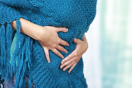 cystitis: Woman with belly ache and cystitis