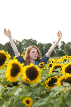 Happy woman in a sunflower field with arms raised Stockfoto