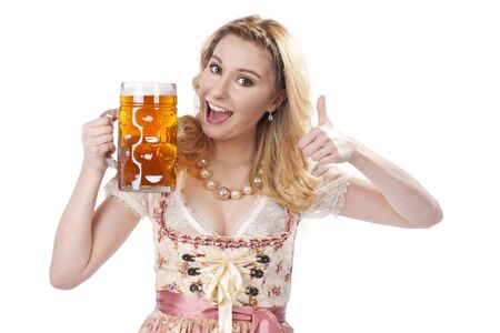 traditional costume: Bavarian woman with beer in traditional costume isolated