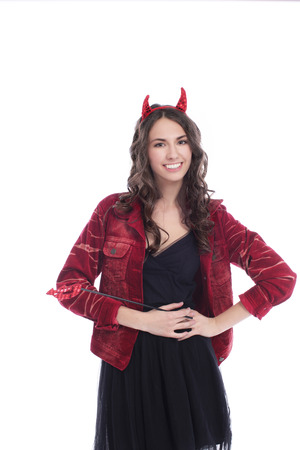 trident: Attractive devil woman with trident isolated