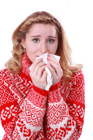 hankie: Woman with blocked nose and handkerchief isolated Stock Photo