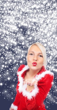 high size: Attraktive christmas woman with star background