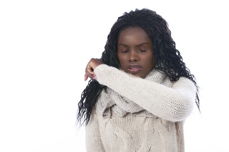 black: African woman coughing with flu isolated