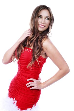 red dress: Attractive young woman with red dress isolated