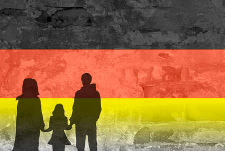 refugees: Refugees silhouette with german flag Stock Photo