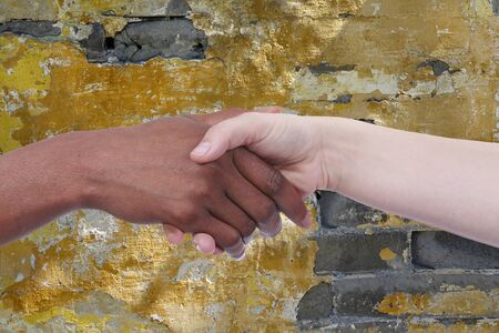european integration: Handshake of african und european woman in front of a stone wall Stock Photo