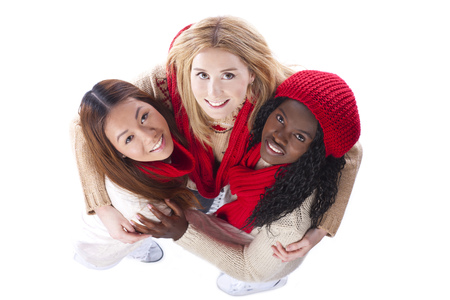 skin color: Three girlfriends with different derivation isolated