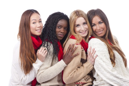 black color: four girlfriends with different derivation isolated Stock Photo