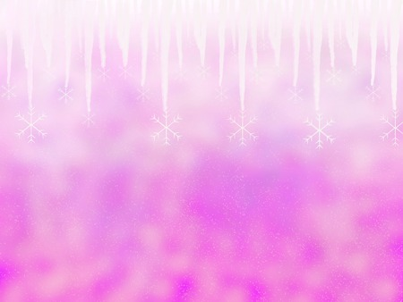 Pink Winter background with icicle