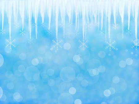 Blue Winter background with icicle Reklamní fotografie