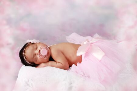 10: Cute new born girl 10 days Stock Photo