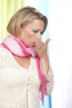 Mature woman suffers from coughing Stock fotó - 74267918