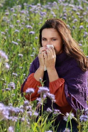 Mature woman with hay fever and allergy blows her nose with a handkerchief in a flower flied Stock Photo