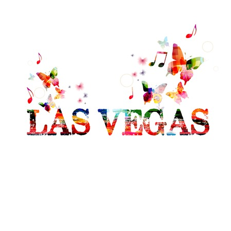LAS VEGAS design with butterflies Vector