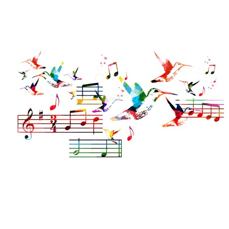 Abstract music background with hummingbirds Reklamní fotografie - 35456773