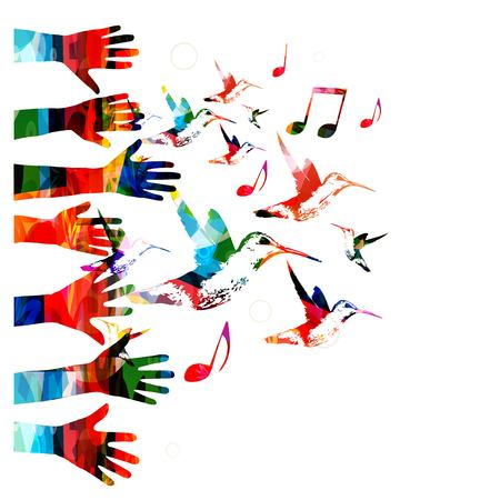 wallpaper image: Colorful vector hands background with hummingbirds