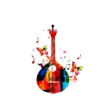 coro: Guitarra portuguesa tradicional con mariposas Vectores