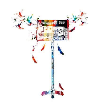 벌새와 다채로운 음악 스탠드 스톡 콘텐츠 - 35405903