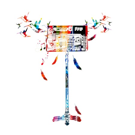 popular music: Colorful music stand with hummingbirds