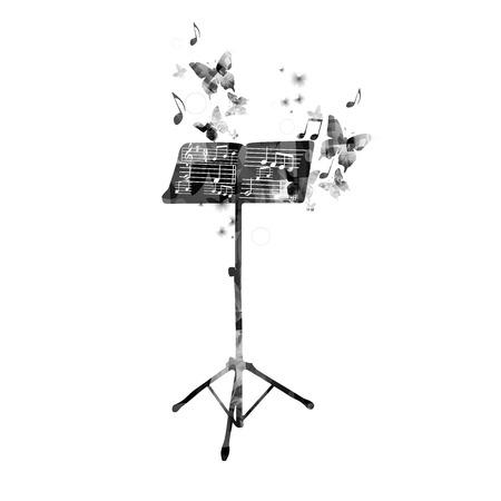 blatt: Abstrakte Musik Hintergrund mit Schmetterlingen