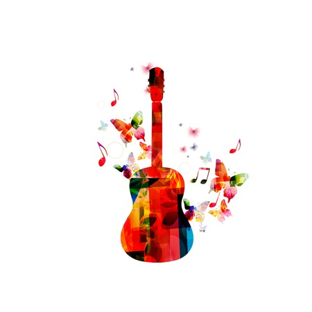 gitara: Kolorowe tło muzyczne z gitarą Ilustracja