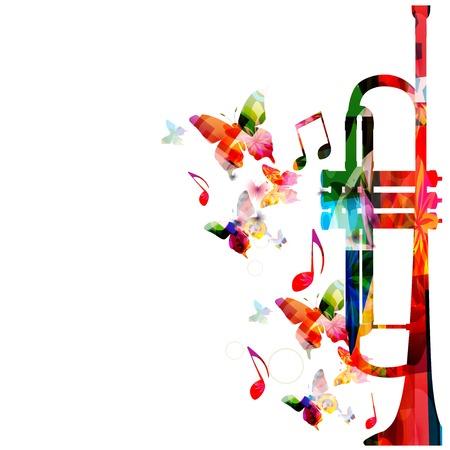 wind instrument: Colorful music background Illustration