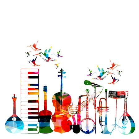 music symbols: Colorful musical instruments background