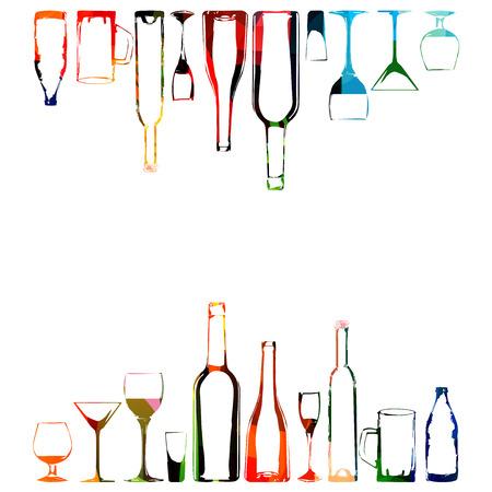 Colorful design with bottles and glasses Illusztráció