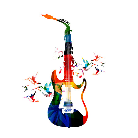 saxophone: Guitar and saxophone design Illustration