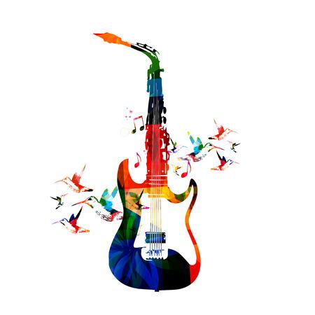 saxof�n: Guitarra y el saxof�n dise�o