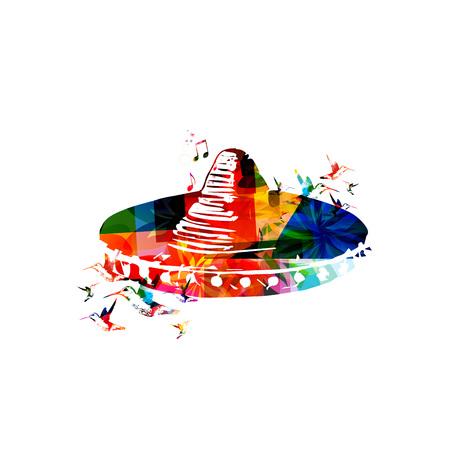 traje mexicano: Diseño de sombrero mexicano Vectores