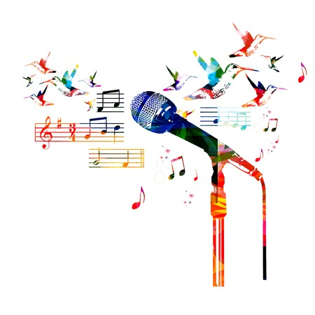 Colorful microphone design 向量圖像