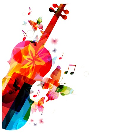 violines: Fondo colorido de la m�sica Vectores