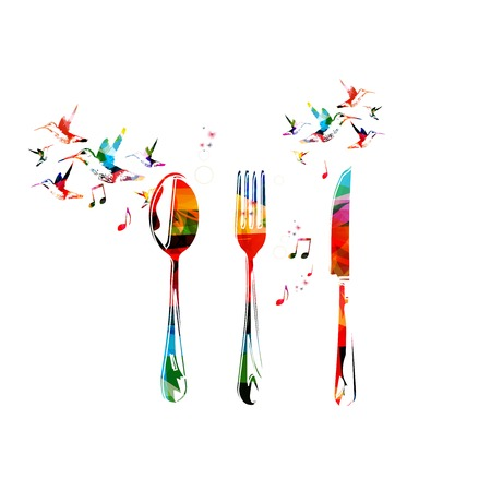Fork, knife and spoon background