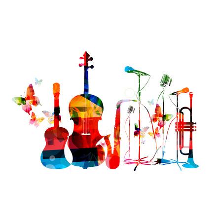 Bunte Musikinstrumente Hintergrund Illustration