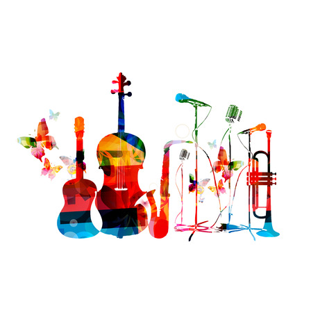 unplugged: Colorful musical instruments background