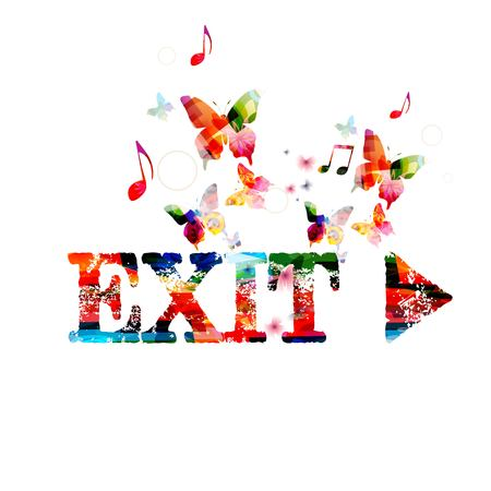 Colorful vector EXIT design with butterflies Фото со стока - 35877478