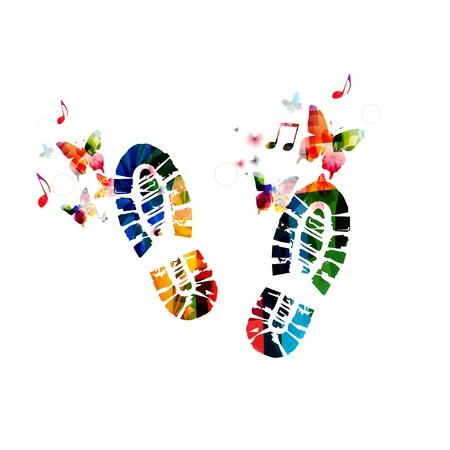 Schoen voetafdruk ontwerp met vlinders Stock Illustratie