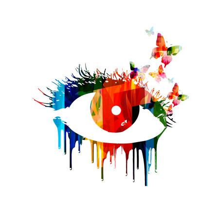 lash: Colorful vector eye design Illustration