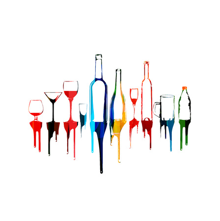 Colorful design with bottles and glasses Иллюстрация
