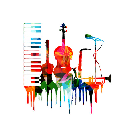 musical notes background: Colorful musical instruments background