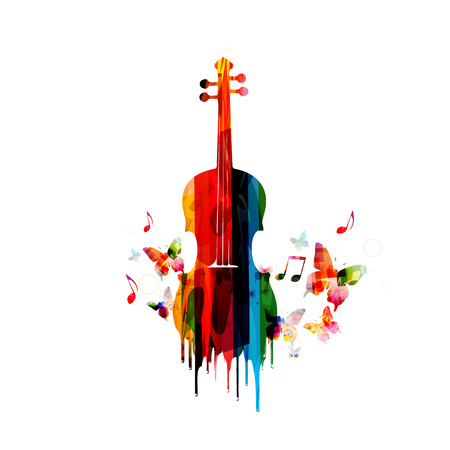 musical notes background: Violin colorful design Illustration