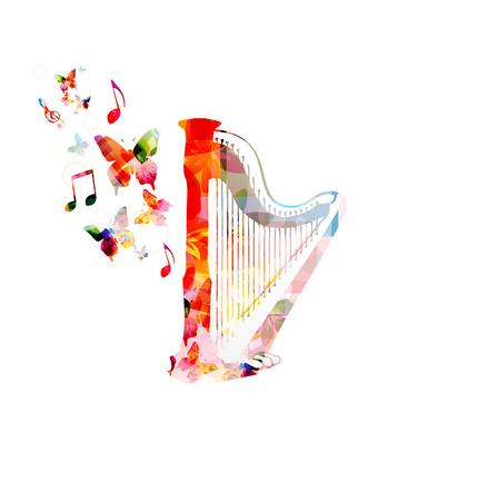arpa: Fondo colorido de la música. Vector Vectores