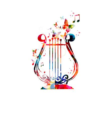Sfondo colorato di musica. Lyra disegno vettoriale