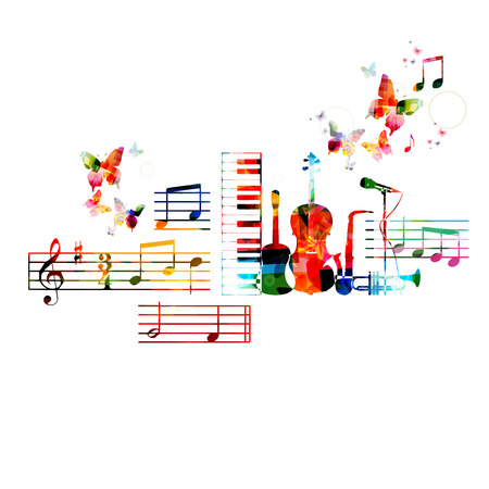 musical ornament: Colorful musical instruments design Illustration