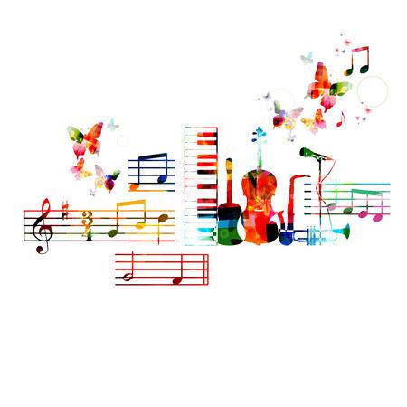 Colorful musical instruments design Stock Illustratie