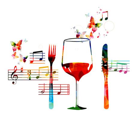 food wine: Restaurant background design Illustration