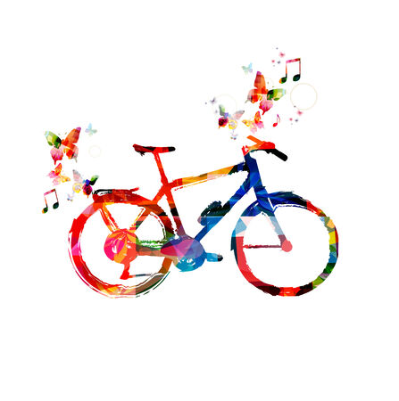 Colorful bicycle with butterflies background Stock Vector - 37047020