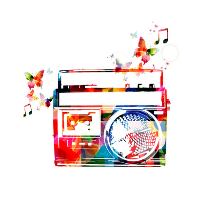 rnabstract: Colorful retro radio design with butterflies