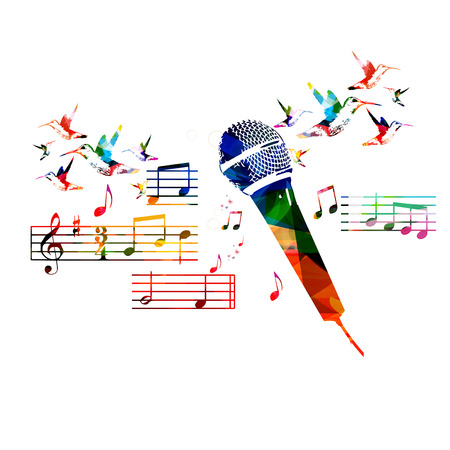 Colorful microphone design with hummingbirds